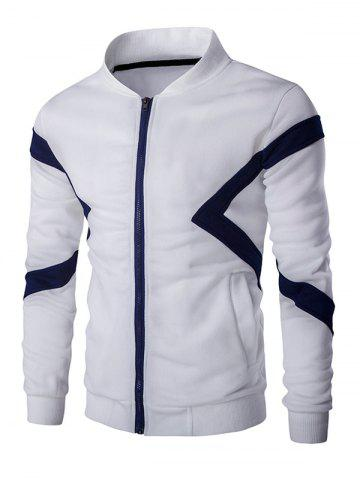 Discount Color Splicing Napping Zip Up Long Sleeve Jacket For Men WHITE 2XL