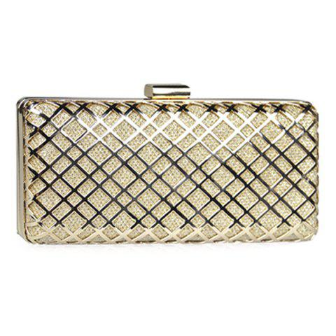 Affordable Trendy Metal and Checked Pattern Design Evening Bag For Women - GOLDEN  Mobile