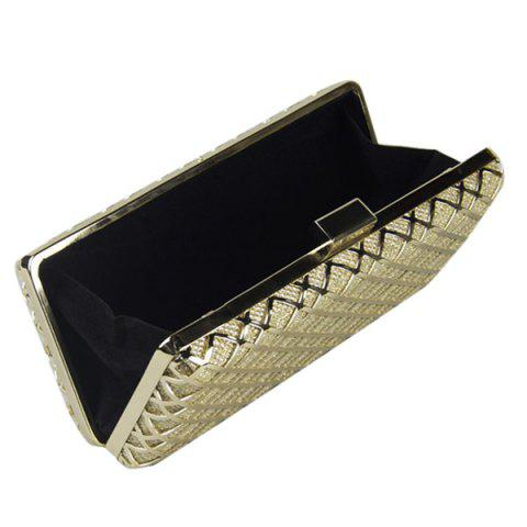 Store Trendy Metal and Checked Pattern Design Evening Bag For Women - GOLDEN  Mobile