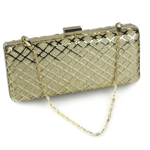 Fancy Trendy Metal and Checked Pattern Design Evening Bag For Women - GOLDEN  Mobile