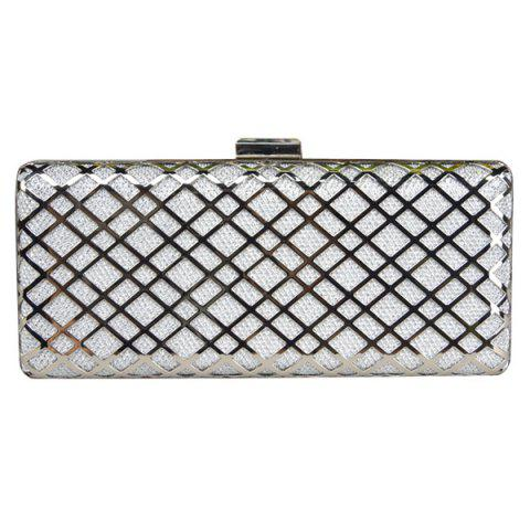 Fancy Trendy Metal and Checked Pattern Design Evening Bag For Women