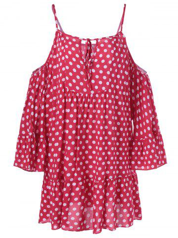 Cold Shoulder Polka Dot Imprimer Mini-robe - Rose et Blanc XL