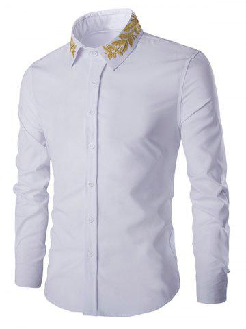Golden Leaves Embroidered Shirt Collar Long Sleeves Shirt - White - 2xl
