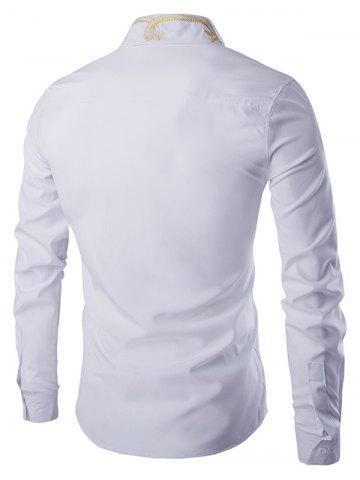 Hot Golden Embroidery Solid Color Long Sleeves Shirt For Men - 2XL WHITE Mobile