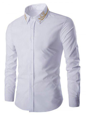 Buy Golden Embroidery Solid Color Long Sleeves Shirt For Men - 2XL WHITE Mobile