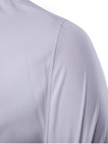 Best Golden Embroidery Solid Color Long Sleeves Shirt For Men - 2XL WHITE Mobile