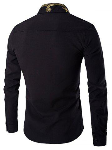 Store Golden Embroidery Solid Color Long Sleeves Shirt For Men - XL BLACK Mobile