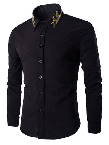 New Golden Embroidery Solid Color Long Sleeves Shirt For Men BLACK XL