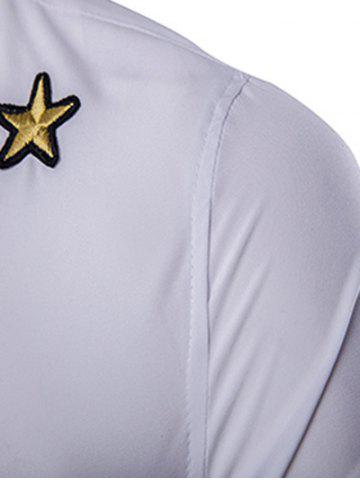 New Simple Star Embroidered Long Sleeves Shirt For Men - L WHITE Mobile
