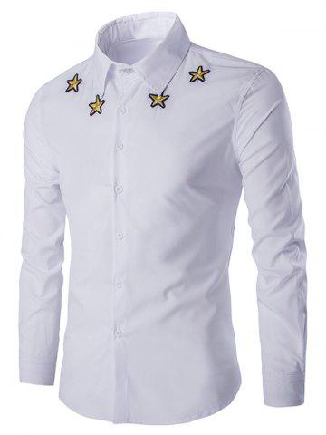 Discount Simple Star Embroidered Long Sleeves Shirt For Men WHITE L