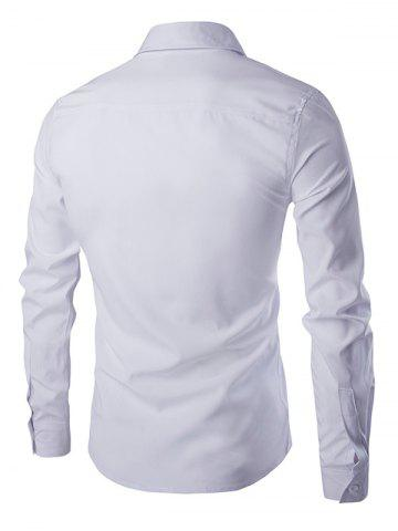 Outfits Simple Star Embroidered Long Sleeves Shirt For Men - L WHITE Mobile