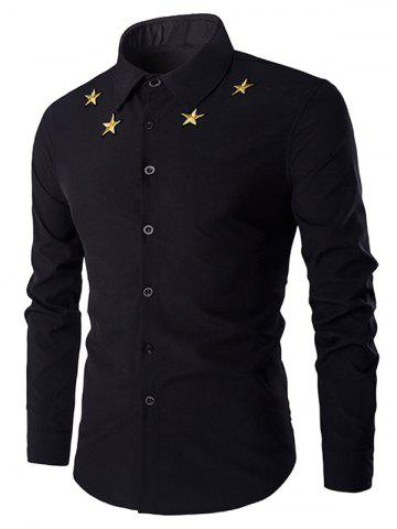 Outfit Simple Star Embroidered Long Sleeves Shirt For Men - M BLACK Mobile