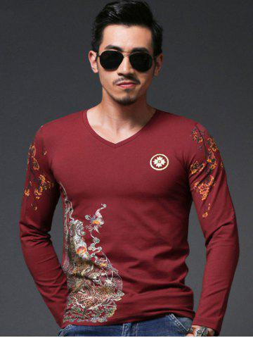 Fashion Chinoiserie Floral Print V-Neck Long Sleeve T-Shirt For Men