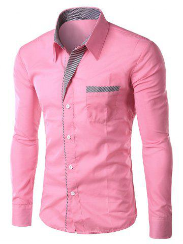 Fashion Stripe Panel Casual Long Sleeve Military Shirt PINK L