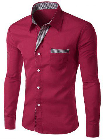 Stripe Panel Casual Long Sleeve Pocket Shirt - WINE RED M