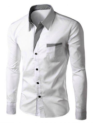 Stripe Panel Casual Long Sleeve Pocket Shirt - WHITE 4XL