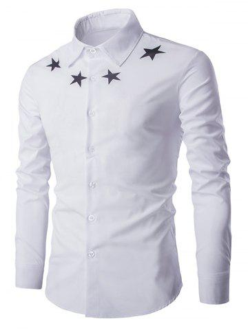 Unique Star Pattern Solid Color Long Sleeves Shirt For Men
