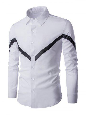 Unique Triangle Pattern Turn-down Collar Long Sleeves Shirt For Men