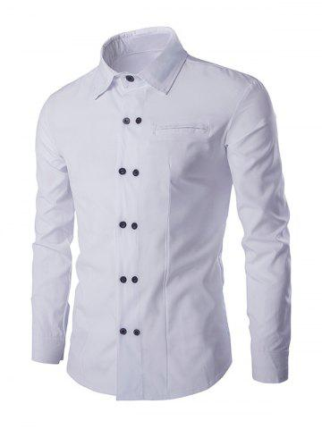 Chic Double-Breasted Solid Color Shirt Collar Long Sleeves Shirt For Men WHITE L