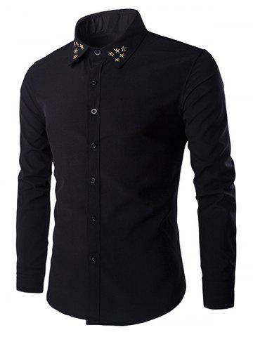 Cheap Gloden Star Rivets Design Shirt Collar Long Sleeves Shirt For Men BLACK M
