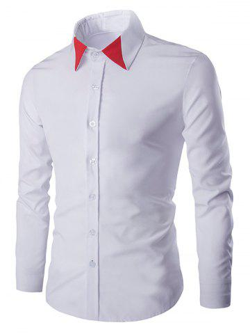 Shop Color Block Collar Long Sleeves Shirt For Men WHITE 2XL
