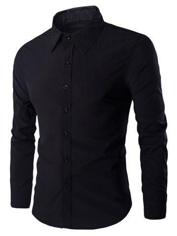 Trendy Rivets Embellished Turn-down Collar Long Sleeves Shirt For Men BLACK 2XL