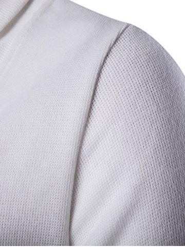 Store Button Up Shawl Collar Long Sleeve Cardigan - M WHITE Mobile