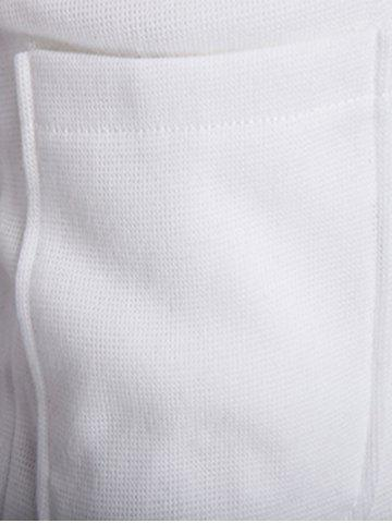 Sale Button Up Shawl Collar Long Sleeve Cardigan - M WHITE Mobile