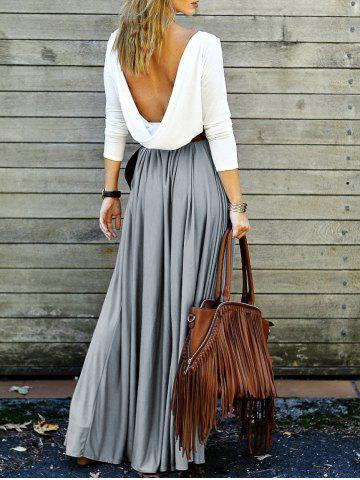Chic Backless Long Sleeve Maxi Pleated Prom Dress