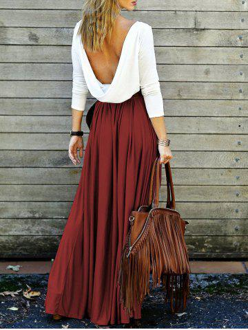 Affordable Long Sleeve Long Backless Flowy Club Dress WINE RED XL
