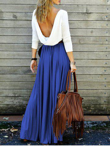 Outfits Backless Long Sleeve Maxi Pleated Prom Dress DEEP BLUE S
