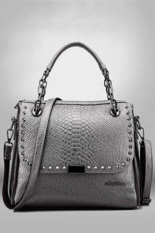 Best Rivets Tote Bag SILVER GRAY