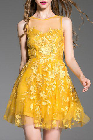 Trendy Sleeveless Illusion Neckline Little Prom Dress
