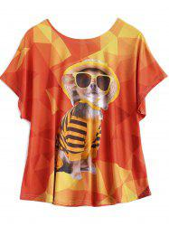 Plus Size Glass Puppy Print T Shirt