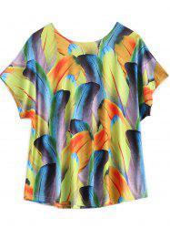 Plus Size Colorful Feather Print T Shirt -