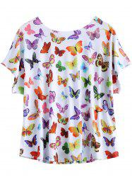 Plus Size Butterfly Print T Shirt - WHITE