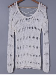 Stylish Scoop Neck Hollow Out Long Sleeves Knitwear For Women -