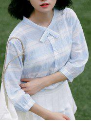 Sweet Checked Puff Sleeves Blouse For Women -