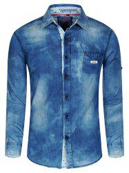 Turn-Down Collar Long Sleeve Jeans Shirt For Men