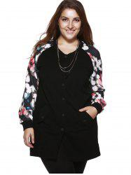 Plus Size Chic Floral Print Long Jacket -