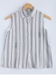 Preppy Style Sleeveless Striped Shirt For Women -