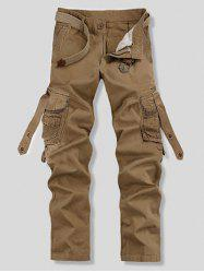 Loose Fit Trendy Solid Color Multi-Pocket Straight Leg Men's Cotton Blend Cargo Pants - KHAKI