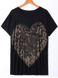 Casual Round Neck Heart-Shaped Print T-Shirt For Women -