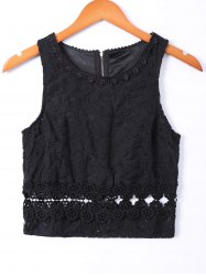 Elegant Lace Openwork Round Neck Tank Top For Women -