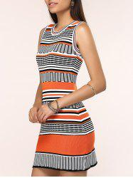 Round Neck Colorful Striped Skinny Dress -
