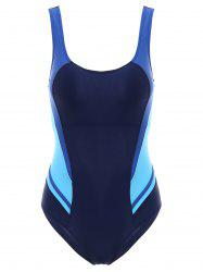 Sexy Style U Neck Color Block Criss-Cross One-Piece Swimsuit For Women