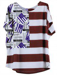 Casual Flag Pattern Striped Women's T-Shirt
