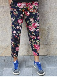 Lace-Up Flowers Print Nine Minutes of Pants For Men -