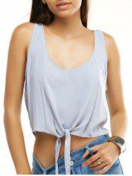 Chic Women's Tie-Front Pure Color Crop Top -
