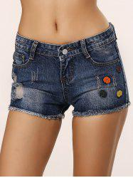 Cute Icons Embellished Ripped Shorts -